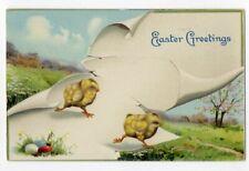 032420 LOVELY VINTAGE EASTER POSTCARD TWO RUNNING CHICKS 1912 GEL COATING