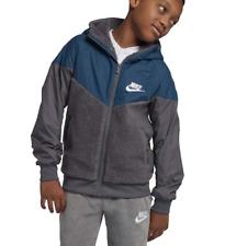 Nike Boy's Sz LG Aqua & Gray Sportswear Windrunner Sherpa Jacket AA0069-021 []