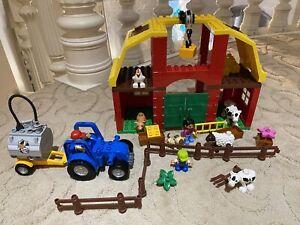 Lego Duplo 5649 Big Farm Animals Barn Hoist Tractor Cows Fence & More