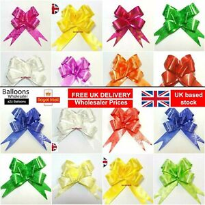 50 LARGE 30mm Ribbon Bow assorted color easy pull flower ribbondecoration party