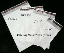 100 Poly Bag Mailers 4 Size Assortment Self Sealing Shipping Envelope Bags