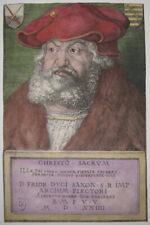 Albrecht DÜRER  Frédérick, le Sage Electeur de la Saxe.  GRAVURE WOODCUT ANTIC