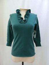 ECCOCI ETCETERA GREEN TEAL RUFFLED V-NECK SWEATER SHIRT TOP size XS NEW $135