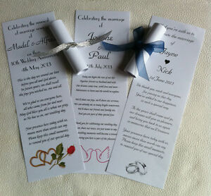 10 Personalised Wedding Favour Scrolls with organza on cream/white 120gsm paper