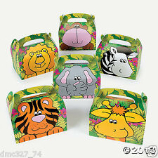 12 Birthday Party Favor ZOO SAFARI ANIMALS Animal Goody Loot TREAT BOXES