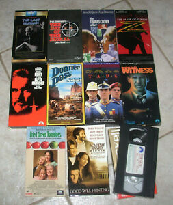 11 VHS Movie lot Taps, Witness, Zorro, Red October, Goodwill Hunting, Top Gun +