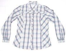 Women's COLUMBIA Medium Blue Gray Red Plaid L/S Shirt Vented Mesh Front Zipper
