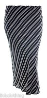Womens Pencil Skirt Black White Stripe Elastic Waist Ladies *LICK*