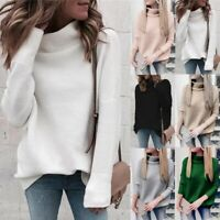 Women's High Neck Pullover Long Sleeve Loose Knitted Sweater Knitted Tops Blouse