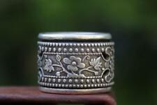 ExquisiteChina Flexible rotate hollow out Flower Pattern Finger Miao Silver Ring