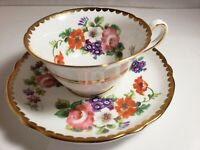 Copelands Grosvenor Demitasse Cup & Saucer scalloped gold trim roses and flowers