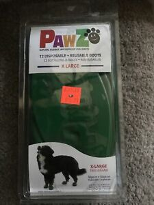 Pawz dog 12 disposable / reusable boots size XL green - New In Package