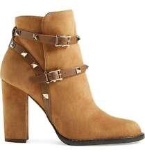 NIB $1,375+ Valentino Rockstud Ankle Bootie Tan Brown Suede Block Heel 39.5 - 9