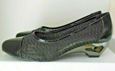 Taranto Dress Black Scalloped Patent Leather Sling Back Shoes Sz EU 41 AU 10