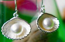 Groß Massiv Muschel Struktur Ohrhänger Silber Matt 3 cm Lang Modern Perle Creme