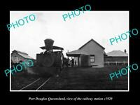 OLD LARGE HISTORIC PHOTO OF PORT DOUGLAS QLD, VIEW OF THE RAILWAY STATION c1920
