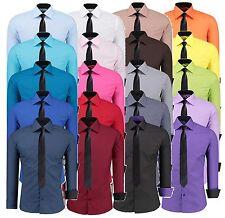 Herren Slim Fit Hemd + Gratis Krawatte Hochzeit Business Anzug Hemden J-12105K