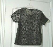 Moving Bleu Shirt Top Leopard Print Stretch Short Sleeves Womens Large