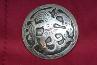 """Antique Guatemala Sterling Silver Pin Pendant Brooch Large Round 1"""" Aztec Mayan"""