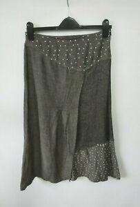 Heteroclite Maxi Skirt Grey Patchwork Buttons Linen Blend Hippy Boho Arty UK 14