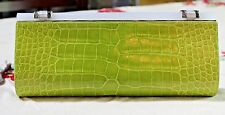 Judith Leiber Shiney Green Alligator Evening Bag/Clutch With Silver Chain.