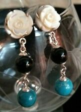 """""""Chapal Zenray"""" Sterling, mother of pearl, turquoise, agate drop earrings"""