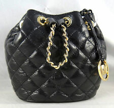 Michael Michael Kors Frankie Quilted Metallic Black Leather Drawstring Crossbody