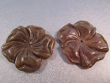 Nephrite Jade Carved Flower Pendant 2pcs