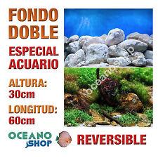 FONDO 60x30cm DOBLE CARA REVERSIBLE DECORATIVO ACUARIO ROCAS Y PLANTAS D416