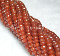 "Natural 4x6mm Faceted Red Agate Abacus Rondelle Loose Beads 15"" JL241"