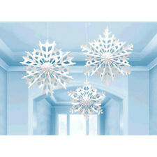 3 Christmas Party Frozen Snowflake Hanging Paper Fan Decorations