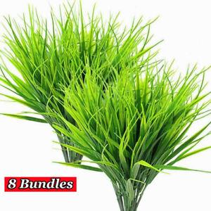 8 Bundles Artificial Outdoor Plants Fake Plastic Greenery Shrubs Wheat Grass US