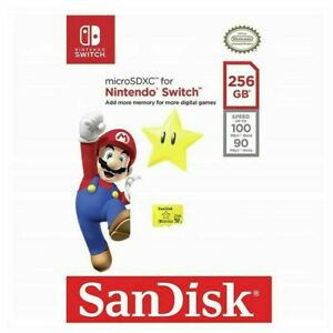 SanDisk Nintendo Switch Micro SD 256GB SDXC Memory Card Nintendo Licensed 100MBs