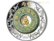 2000 Kip Lunar 2 once oz Argento Anno della Scimmia Monkey Laos 2016 PP Jade