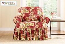 Sure Fit Crimson red Ballad Bouquet T-cushion chair slipcover slip cover