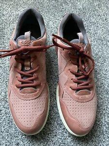 ECCO Women's Sneakers Lace Up Flats Terracotta Leather Shoes Size EU 40 UK 6.5