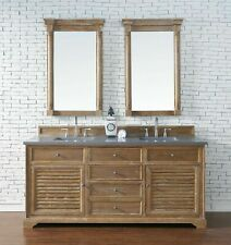 "72"" James Martin Savannah Driftwood Double Bathroom Vanity With Gray Quartz Top"