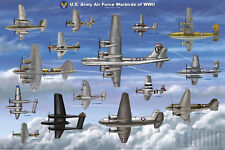 USAAF Warbirds of WW II Educational Military Airplanes Chart Poster 24x36
