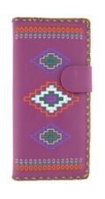 LAVISHY AZTEC SOUTH WESTERN LARGE WALLET VEGAN FAUX LEATHER NEW (97-176 Purple)