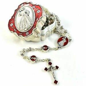 DIVINE MERCY ROSARY PRAYER praying red silver Catholic Jesus Crucifix in BOX