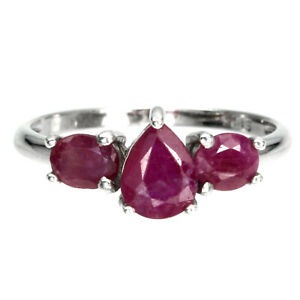 Pear Red Ruby 7x5mm 14K White Gold Plate 925 Sterling Silver Ring Size 8