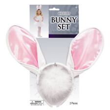 Kids Boys Girls White Rabbit Easter Bunny Ears Tail Fancy Dress Up Accessory Kit