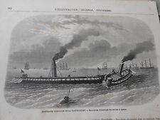 Gravure 1869 - Excercices de la Flotte Russe Abordage à éperon