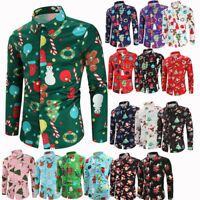 Christmas Xmas Print Mens Casual Shirts Fashion Slim Fit Long Sleeve Dress Shirt
