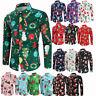 Christmas Xmas Print Mens Button Casual Shirts Slim Fit Long Sleeve Dress Shirts