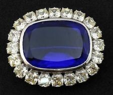Royal High Large Blue Cushion Stone Brooch Pin In 925 Sterling Silver Jewelry