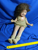 """Huge Antique Composition Doll 27"""" Big Head Sleepy Eye Real Hair Wig Jointed Arms"""