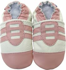 carozoo sports pink white 6-12m soft sole leather baby shoes