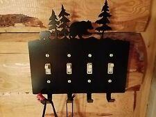 BEAR Switch plate metal wall art plasma cut decor Key holder Fob gift idea