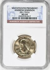 2011-D PRESIDENT ANDREW JACKSON $1 NGC MS68 (Low Pop, Only 3 Graded Higher)
